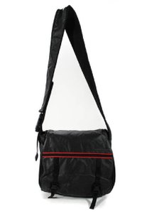 Miu Miu Multi-compartment Xl Work/Travel Style Cross Body/Shoulder Perfect Unisex Style black nylon and leather with red fabric accents Messenger Bag
