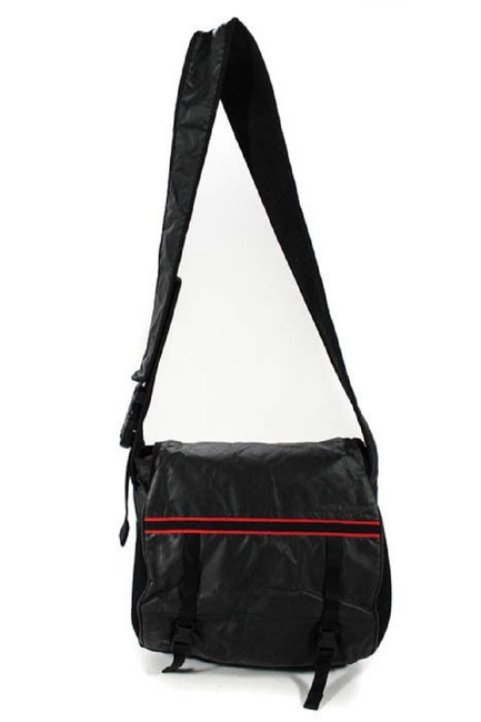 Item - Purses/Designer Purses Black Nylon and Leather with Red Fabric Accents Messenger Bag