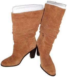 Donald J. Pliner Slouched Shaft Stacked Heel Pull-on Suede/Leather Upper Cognac Boots