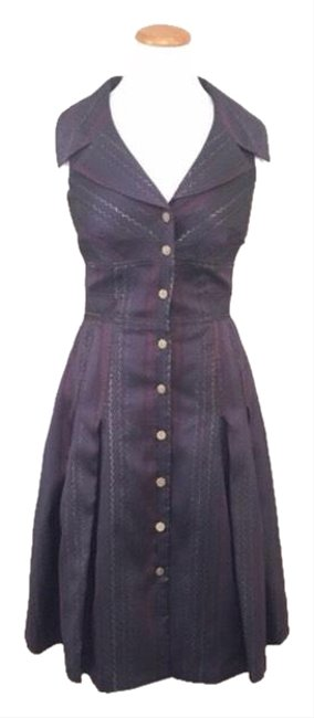 Item - Purple Button Up Fitted Evening Mid-length Cocktail Dress Size 10 (M)