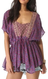 Free People Embroidered Floral Print Tunic
