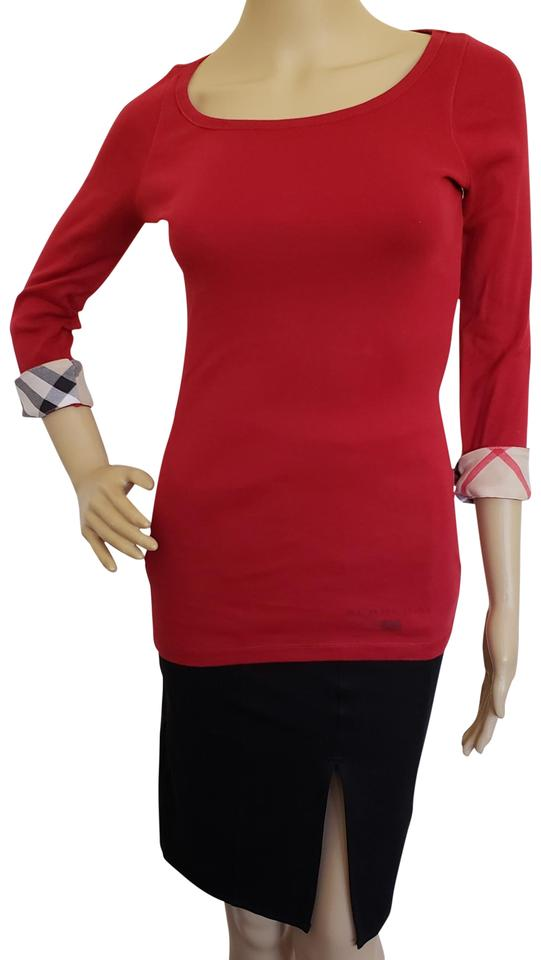038bd3eb2f8097 Burberry Cotton Nova Check Plaid Longsleeve Monogram Top Red, Black, Beige  Image 0 ...