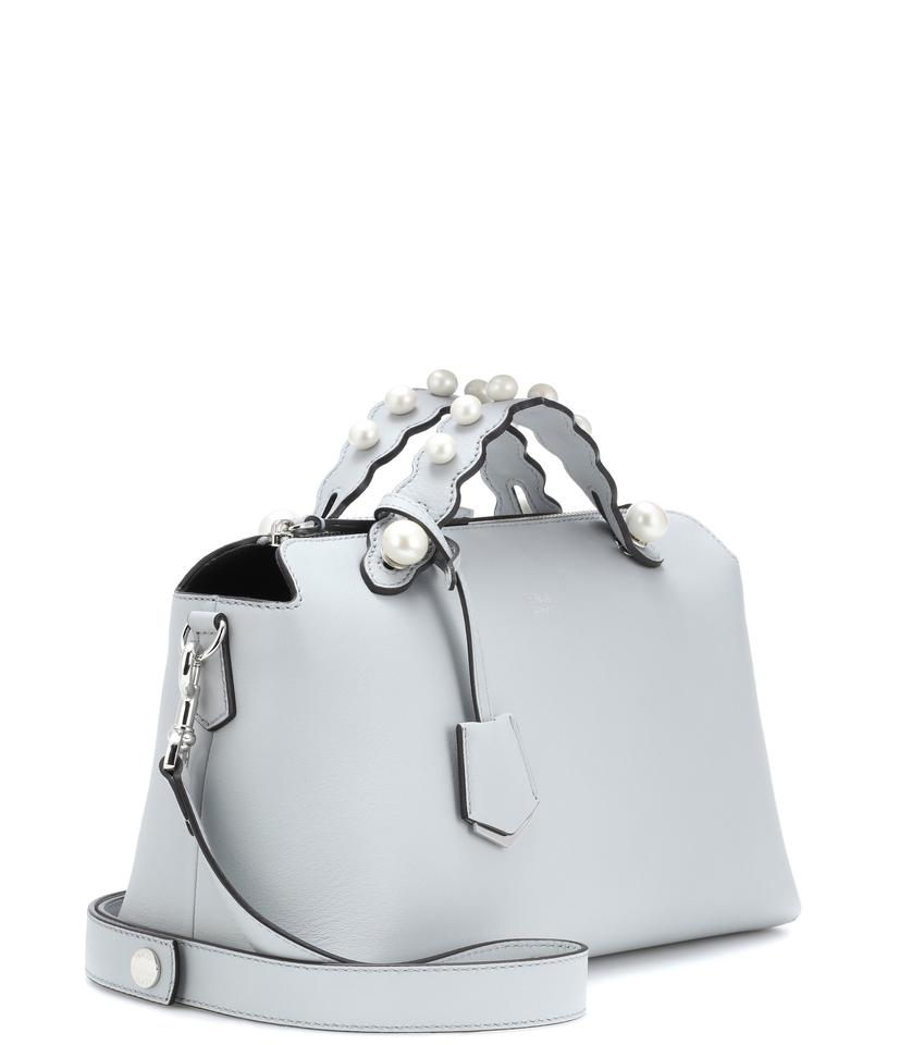 634963f885 Fendi By The Way Medium Pearl Embellished Light Grey Leather ...