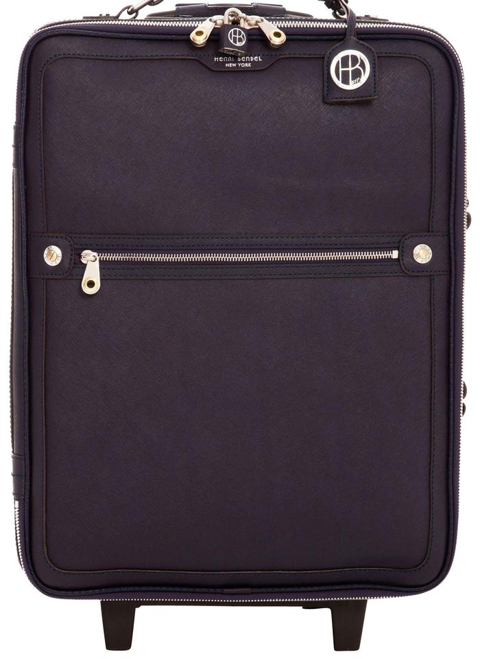 Henri Bendel West 57th Wheelie Carry On Navy Blue  Silver Hardware ... 326a2e344e75c