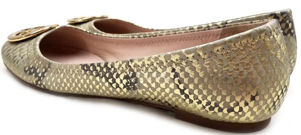 ee9057d686284 Tory Burch Snake-embossed Round Toe T Logo Medallion Leather Lining Gold  Natural  Flats. 12345678