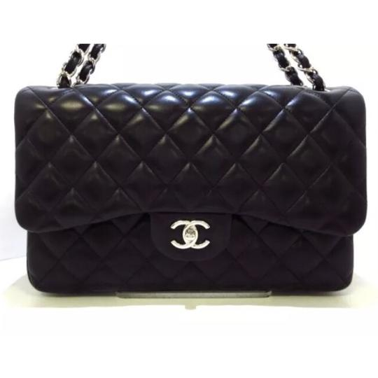 Preload https://item2.tradesy.com/images/chanel-shw-jumbo-double-flap-black-lambskin-leather-shoulder-bag-23567626-0-0.jpg?width=440&height=440