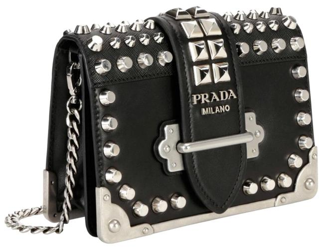 Prada Cahier Studded Black Lambskin Leather Cross Body Bag Prada Cahier Studded Black Lambskin Leather Cross Body Bag Image 1