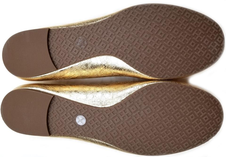 b9164e51738d9f Tory Burch Saharan Gold Metallic  reva  Leather Ballet Flats Size US ...