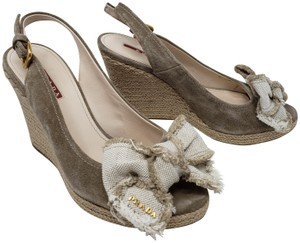 Prada Peep Toe Logo Hardware Bow Platform Grey, Beige, Gold Wedges