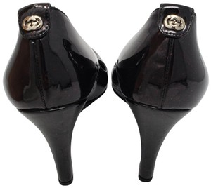 Gucci Gg Guccissima Patent Leather Silver Hardware Hardware Black, Gold Wedges