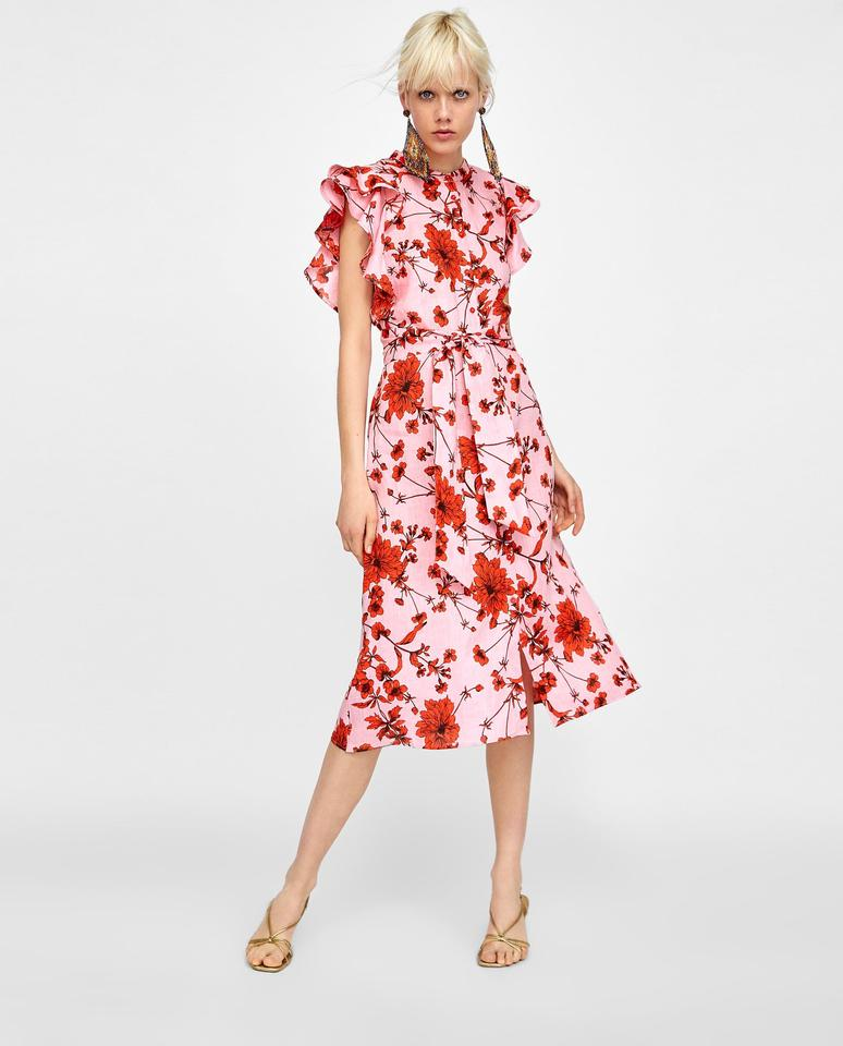 927116a00 Red Pink Floral Maxi Dress by Zara Ruffle Linen Sundress Image 9.  12345678910
