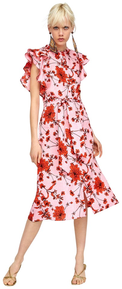 75d073a1 Zara Red Pink Floral New Summer Sundress Ruffle Mid-length Casual Maxi  Dress Size 12 (L)