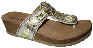 Rialto Thong Beaded Sequin Leather Wedge silver & gold Sandals