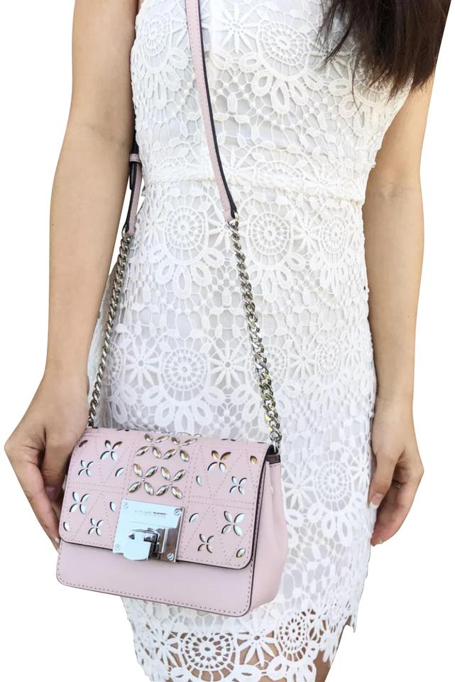 d63dc901beee Michael Kors Flap Tina Stud Small Floral Perforated Blossom Pink ...