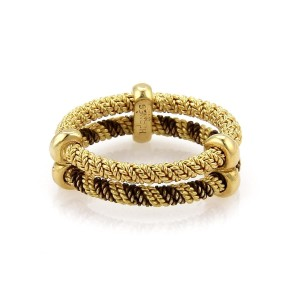 Hermès 18k Two Tone Gold Double Wire Band Ring Size 4.75