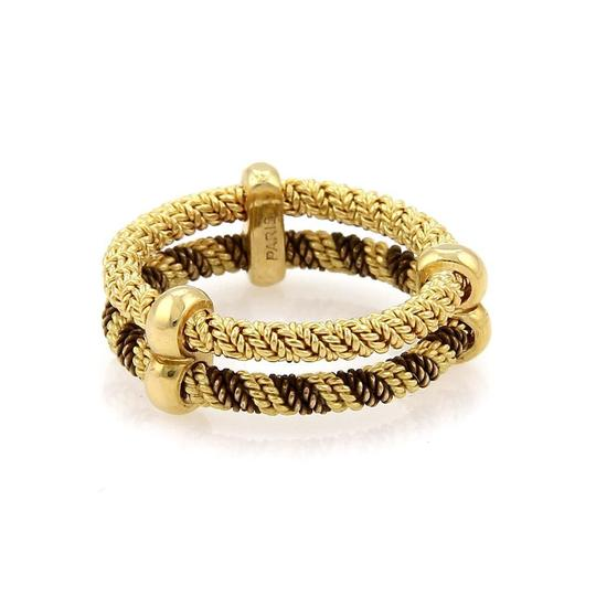 Hermès 18k Two Tone Gold Double Wire Band Ring Size 4.75 Image 3