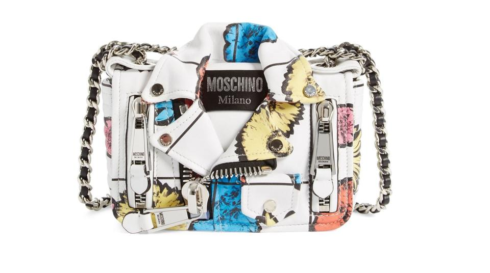 e70927d7a6c50 Moschino Crossbody Small Biker Jacket - Floral Print' Shoulder ...