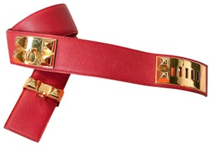 Hermès Collier De Chien Red & Gold Stud Leather Belt sz 70
