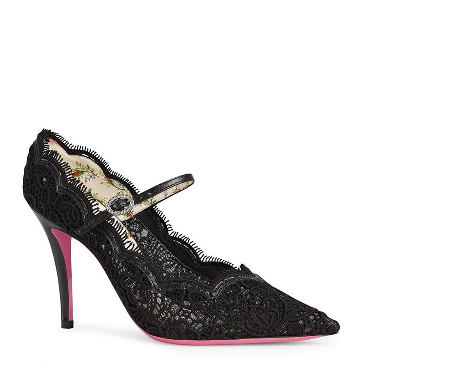 48146fae7 Gucci Black Virginia Pointy Toe Mary Jane In Lace Pumps Size EU 36.5 ...