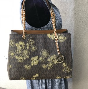 Michael Kors Signature Monogram Chain Satchel Floral Embroidery Tote in brown
