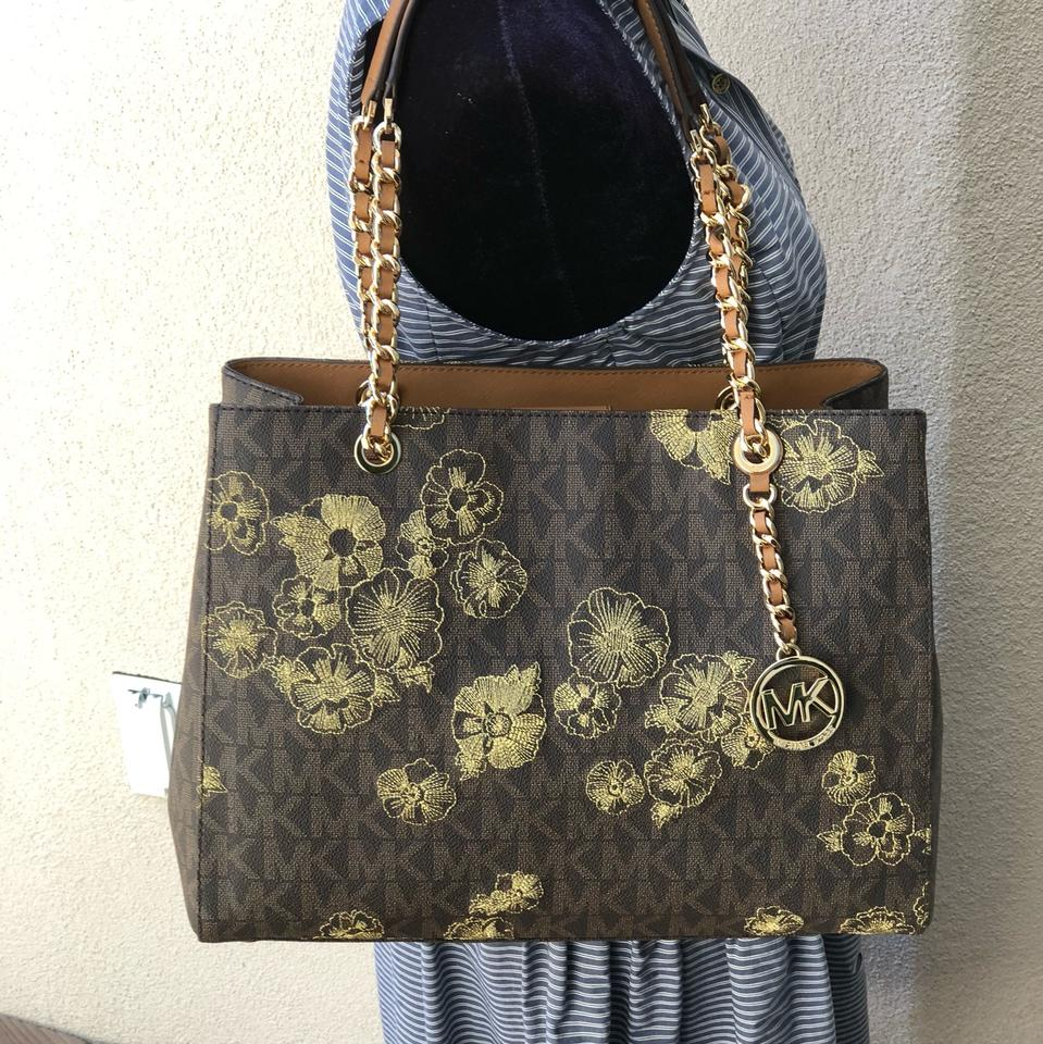 02a7f60fcb7e Michael Kors Signature Monogram Chain Satchel Floral Embroidery Tote in  brown Image 0 ...