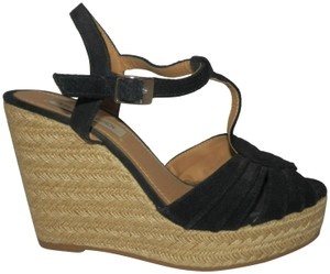 Steve Madden Espadrille Suede Straw Black and tan Wedges