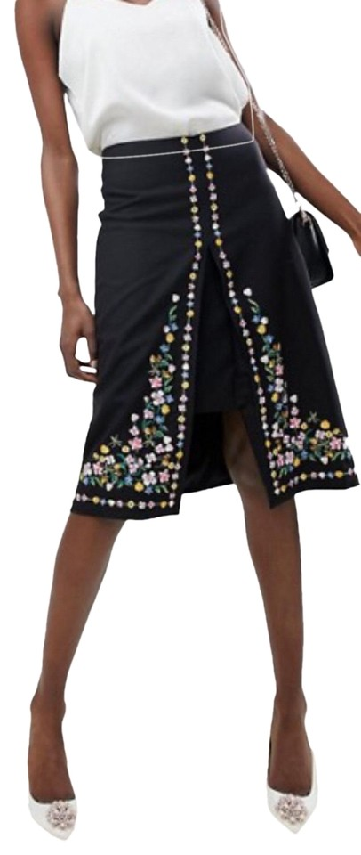 ccd2f4c997 Ted Baker Black Vicks Hampton Court Embroidered Skirt Size 4 (S, 27 ...
