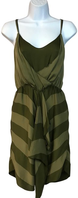 Item - Olive Green Spaghetti Straps Silk Short Casual Dress Size 6 (S)