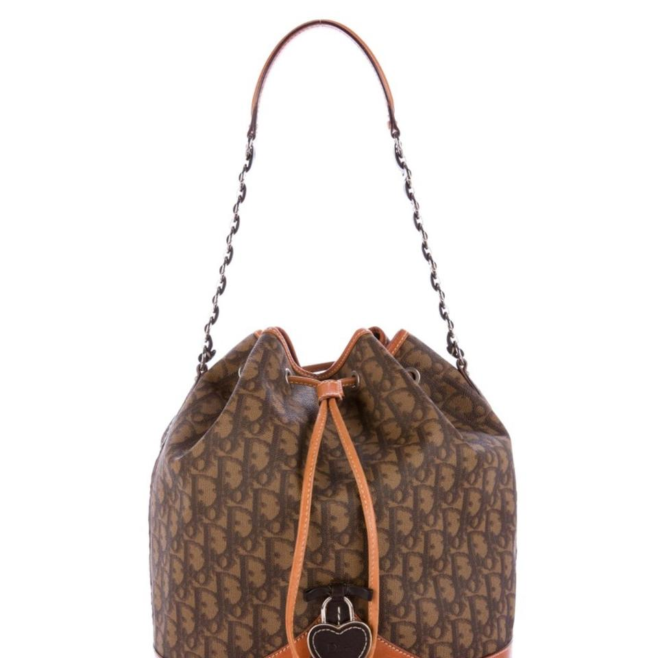 Brown Canvass Leather Tan Tote Christian Dior Bucket Diorissimo with amp; Coated FnqACRXwx
