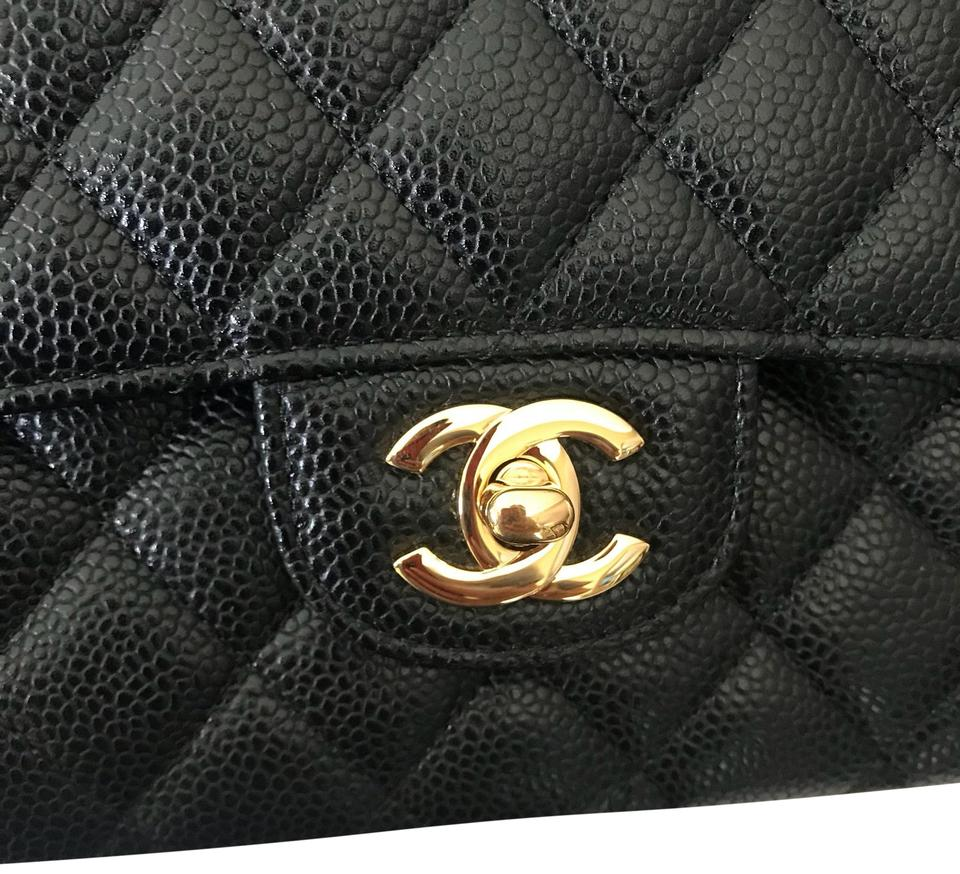8ec1f4847e8785 Chanel Classic Flap Medium Classic Double Of Quilted with Gold Tone Hardware.  Made In France. Black Caviar Leather Shoulder Bag