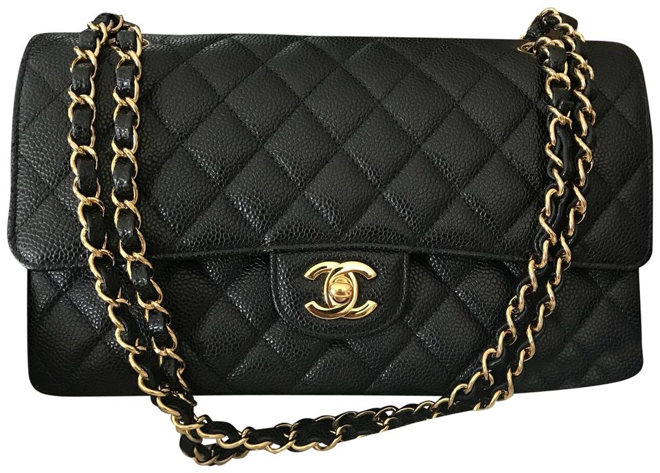 81ff4931c72d Chanel Classic Flap Medium Classic Double Of Quilted with Gold Tone  Hardware. Made In France. Black Caviar Leather Shoulder Bag - Tradesy