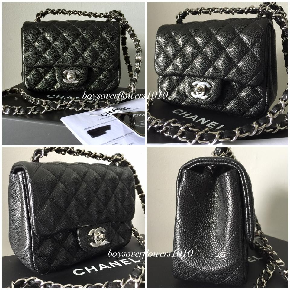 7194f592a9d9 Chanel New 18s Black Caviar Square Mini Classic Flap with Shw ...