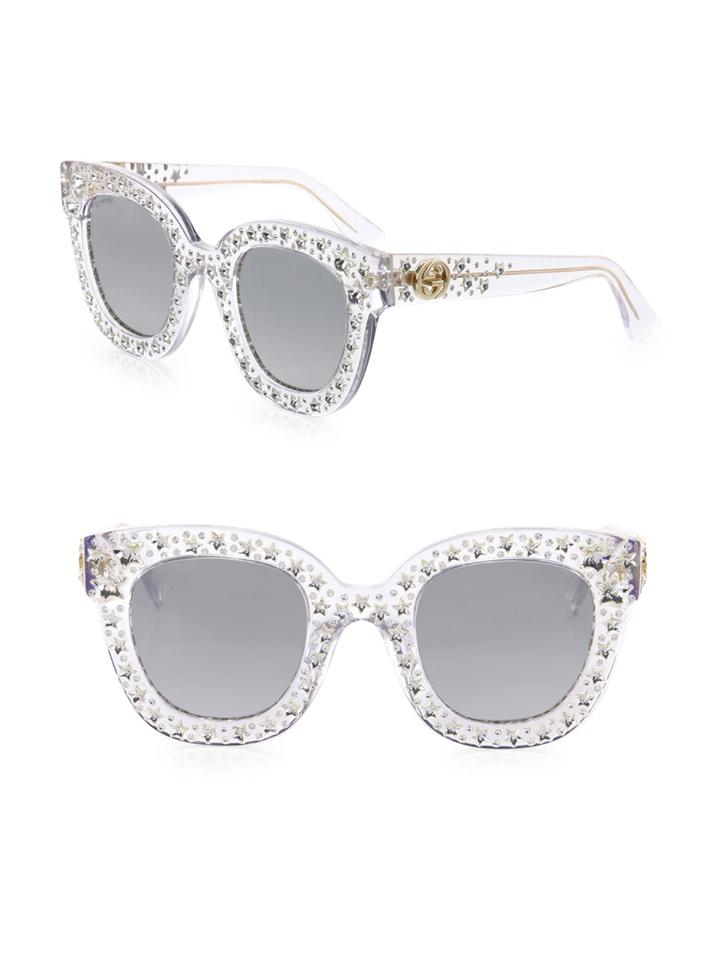 8b2cc6c023 Gucci NEW Gucci GG 0116S 0116 S Clear Star Studded Oversized Sunglasses  Image 0 ...