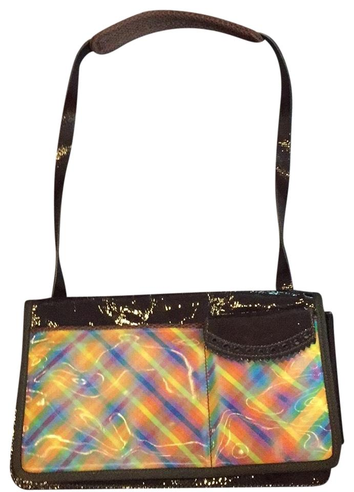 Miu Miu Small Brown Patent Leather and Hologram Rainbow Shoulder Bag ... 83e7c9585b