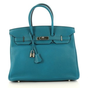 Hermès Leather Tote in Blue