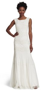 Adrianna Papell Wedding Beaded Cap Sleeves Gown Dress