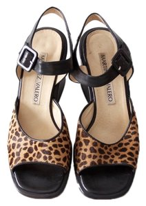 Martinez Valero Ankle Strap Open Toe Leopard Pumps