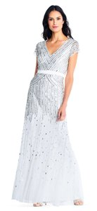 Adrianna Papell V-neck Beaded Sequin Gown Dress