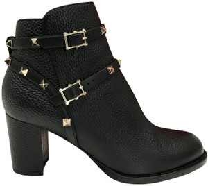 Valentino Pebbled Leather Heel Made In Italy Embellished Straps Adjustable Straps Black Boots