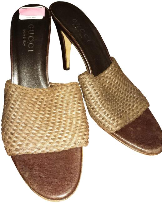 Gucci Brown Black 8b Made In Italy Classy Woven Leather with Slim Heel Mules/Slides Size US 8 Regular (M, B) Gucci Brown Black 8b Made In Italy Classy Woven Leather with Slim Heel Mules/Slides Size US 8 Regular (M, B) Image 1
