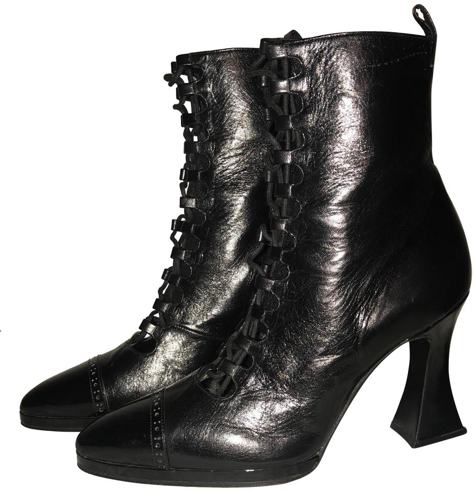 d5e7a9107bac Chanel Victorian Inspired Lace-up Cap-toe Never Worn Vintage Black Boots  Image 0 ...