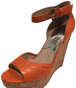 MICHAEL Michael Kors orange and tan Wedges