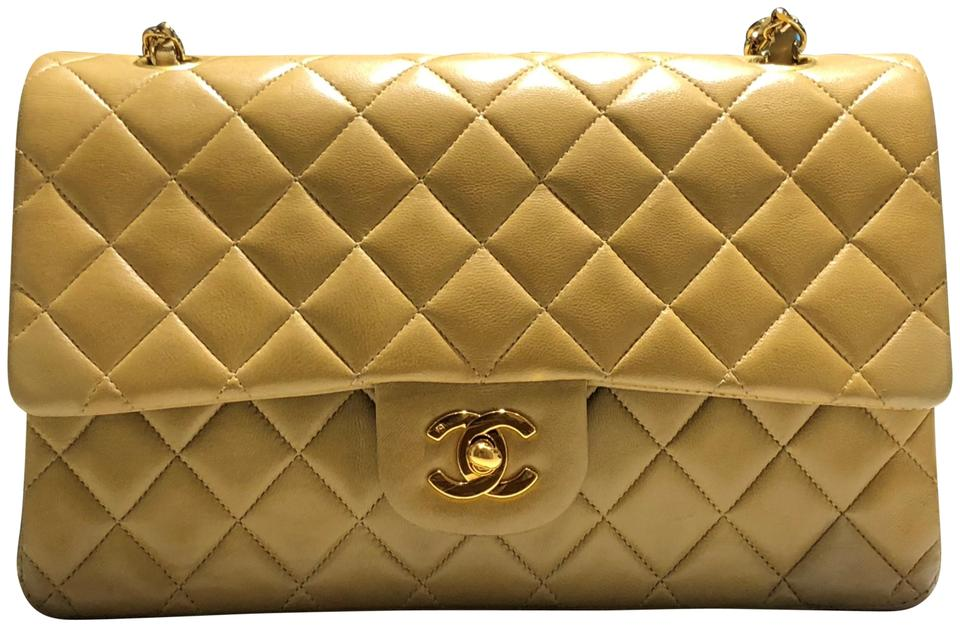 facd84c952fb Chanel Classic Double Flap Vintage Beige Sand Medium Lambskin Gold ...