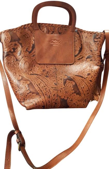 Item - Large with Embellishments Brown Multi Color Leather Tote