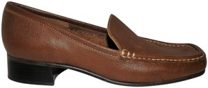 Etienne Aigner Leather Loafer Heel Slip-on Brown Flats