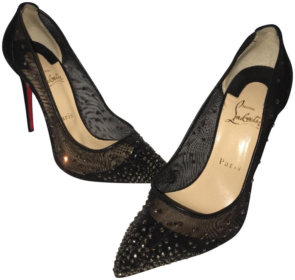 6dfdf84a2b6 Christian Louboutin Black Follies Strass-embellished Red Sole 38 1 2 Pumps