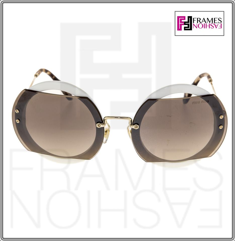 67dc27883e Miu Miu Ivory Reveal 06s Gold Brown Round Mu06ss Sunglasses - Tradesy