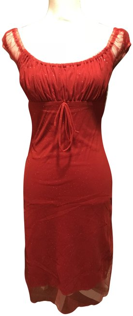 Item - Red with Sparkles Sheer Shoulder Sleeves Mid-length Short Casual Dress Size 8 (M)