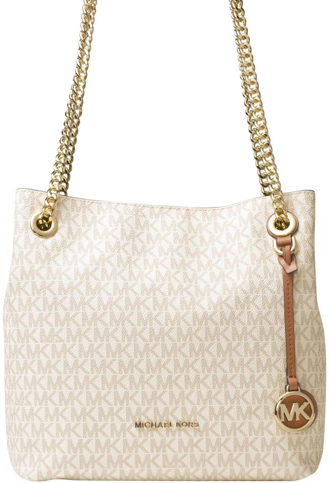 97d4e20f730e84 MICHAEL Michael Kors Jet Set Chain Signature Medium Tote Vanilla ...
