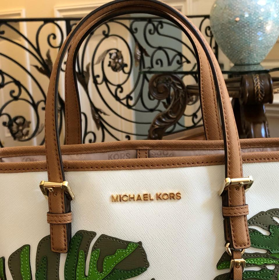 bc3d8d0fca4f Michael Kors Jet Set Travel Xs Carryall Green Brown Coated Canvas Tote -  Tradesy
